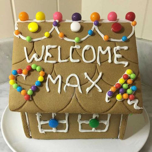 The first gingerbread house for baby Max. (Facebook/Mark Zuckerberg)