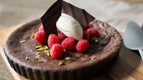 Baked dark chocolate mousse