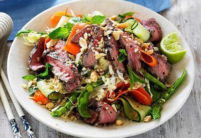 "Recipe:<a href=""http://kitchen.nine.com.au/2016/05/05/09/57/vietnamese-grilled-beef-salad"" target=""_top"">Vietnamese grilled beef salad</a>"