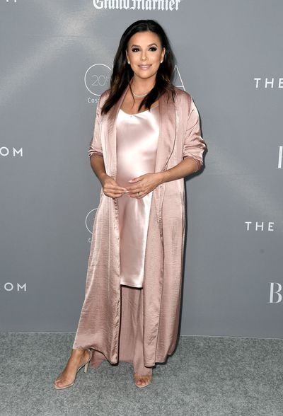 Eva Longoria in a Nili Lotan dress and Juan Carlos Obando duster at the 20th Annual Costume Designers Awards