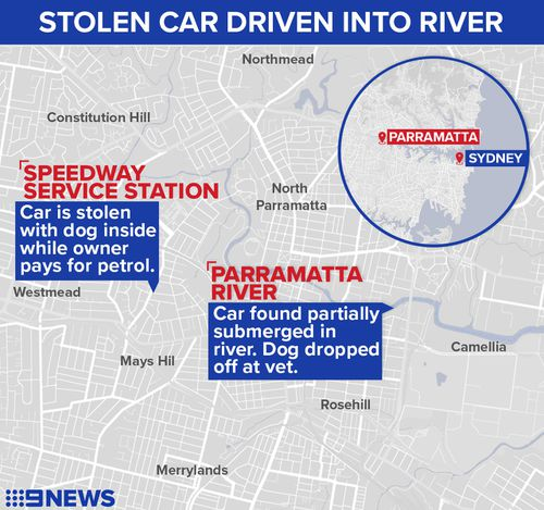 A map showing where the car was stolen from and where it plunged into the river. Graphic: 9NEWS/ Elizabeth Daoud