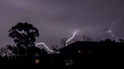Lightning strikes at Lemon Grove, Penrith. (Todd Arthur)