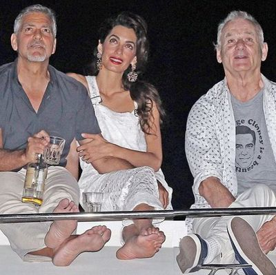 """<p>Celebrities have long used fashion to publicly cement their relationships, but we can't help thinking this latest sartorial outing from Bill Murray might be a case of the comedian gently trolling Hiddleswift. Taylor Swift's boyfriend Tom Hiddlestonsent the internet into meltdown when he was spotted frolicking on the beach recently in an """"I heart T.S."""" tee. But Murray has gone one step better for pal George Clooney, making his feelings known with a T-shirt declaring """"George Clooney is a beautiful man"""". Extra kudos for wearing it in front of Clooney's wife, Amal. </p> <p>Click through to see the other memorable sartorial love letters.</p>"""