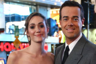 Emmy Rossum helped out Carson Daly at New Year's Eve 2012 With Carson Daly in Times Square. She also opted for a cute ponytail and relaxed make-up.