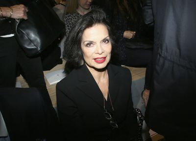 Bianca Jagger front row at Christian Dior, Paris Fashion Week