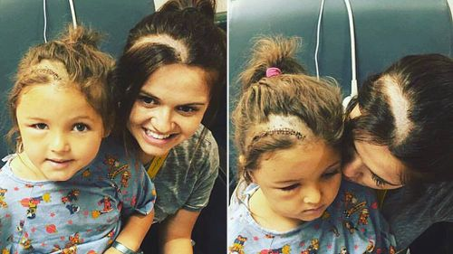 Woman shaves head in solidarity with daughter who underwent brain surgery