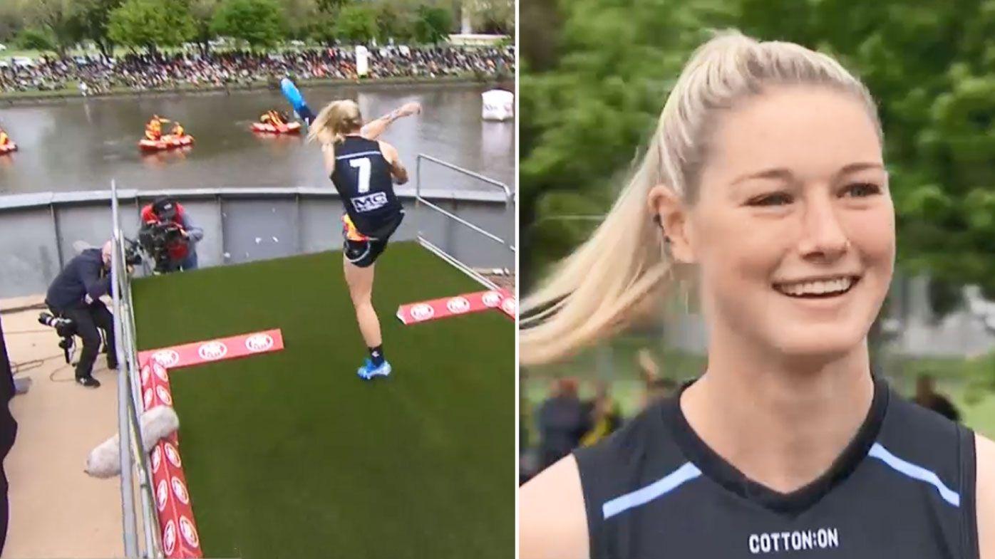 Tayla Harris kicks in the longest kick contest