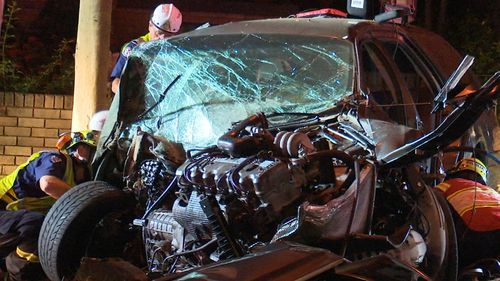 The Ford Falcon was destroyed in the smash.
