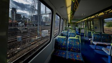 An empty train near Southern Cross Station in Melbourne.