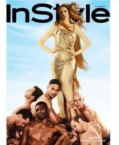 Cindy Crawford as Venus on the cover of <em>InStyle</em> Magazine, March 2018