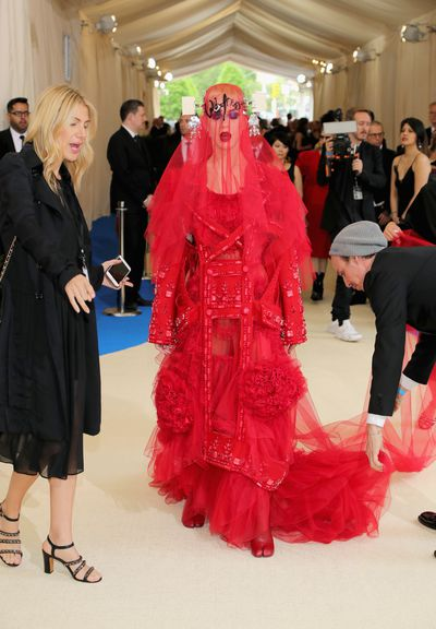Katy Perry in Maison Margiela at the 2017 Met Gala,<em>Rei Kawakubo/Comme des Garcons: Art Of The In-Between</em>.