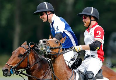 William and Harry battle it out at the polo in 2019.