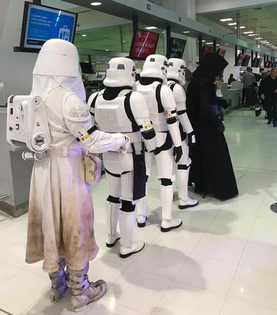 Waiting in line for Virgin Atlantic check-in