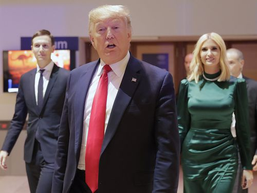 U.S. President Donald Trump, Ivanka Trump and Jared Kushner, left, leave after attemding session at the World Economic Forum in Davos, Switzerland, Tuesday, Jan. 21, 2020.
