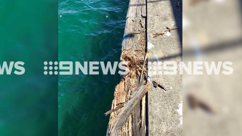 An eye witness told nine.com.au the Ocean Wave was travelling at 6 knots (11kph) when it smashed into the Manly wharf without warning. (Source: Nine.com.au)