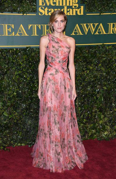 Allison Williams in Alexander McQueen at the London Evening Standard Theatre Awards.