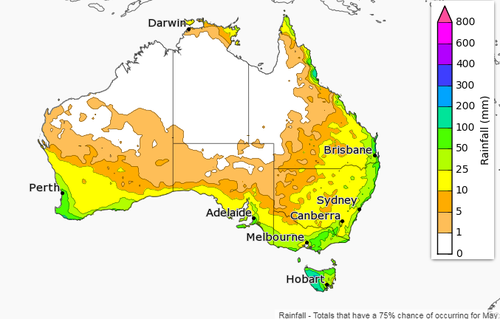 The Bureau of Meterology's rainfall outlook for May. (BoM)