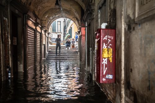 Water levels reached 1600cm, making some of the ancient alleyways dangerous to negotiate.