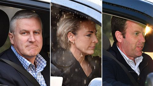 Deputy Prime Minister Michael McCormack arrives for a cabinet dinner, Minister for Jobs Michaelia Cash and Minister for Social Services Dan Tehan arrive for a cabinet dinner at Parliament House in Canberra.