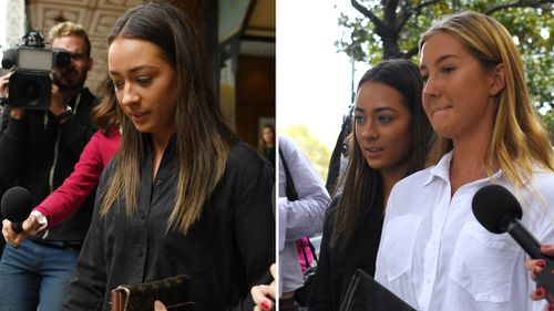 Two women, believed to be Roberge's friends, also arrived at court today to support the 24-year-old. Picture: AAP.