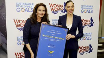 "actress Lynda Carter, who starred in the 1970s series,""Wonder Woman,"" left, and actress Gal Gadot, who stars in the upcoming film, ""Wonder Woman,"" appear at a United Nations event naming the super hero character as an Honorary Ambassador For the Empowerment of Women and girls"