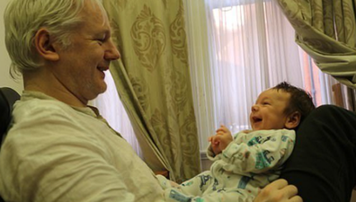 Julian Assange with son