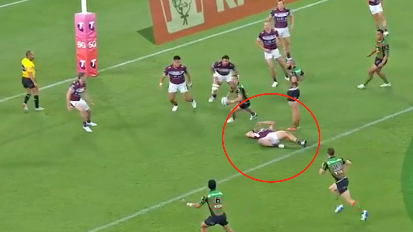 'This is a gee-up': Referee torched as play carries on despite Manly forward's scary head knock