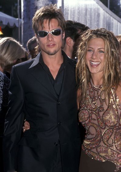 Brad Pitt and Jennifer Aniston attend the 51st Annual Primetime Emmy Awards in 1999.