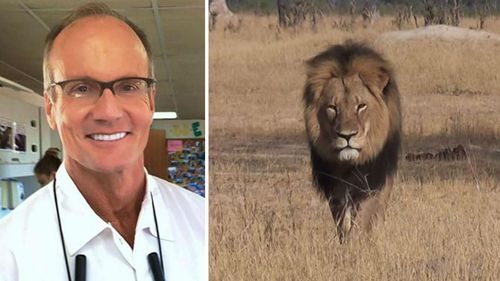 Wanted US dentist Walter Palmer (left) and Cecil the lion (right).