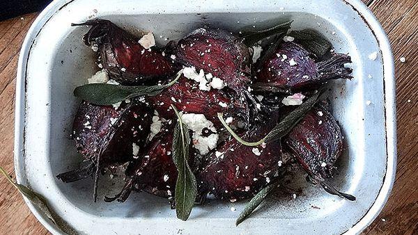 Beetroot and feta salad with crispy sage