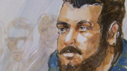 A court sketch of terror suspect Omarjan Azari.