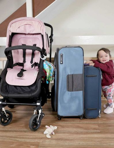 Stroller, luggage and infant baby