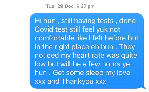 The text message Jeremy Waaka sent to his wife Sarah Hawkins from hospital.