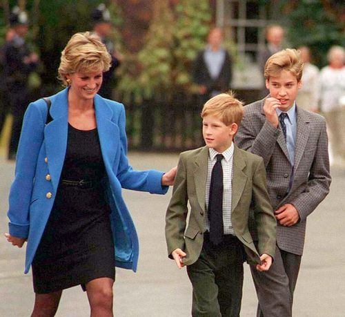 Prince William with Diana, Princess of Wales and Prince Harry in 1995. Picture: Getty