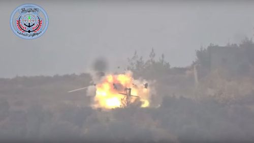 A still from the video shows the moment the Russian helicopter explodes. (Supplied)