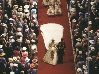 Princess Diana and Prince Charles on their wedding day, 1981.