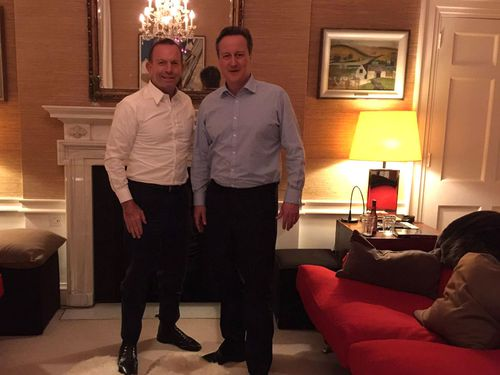 Abbott shows off meetup with David Cameron on social media