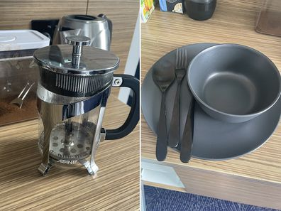 Coffee plunger and dinner set in hotel quarantine