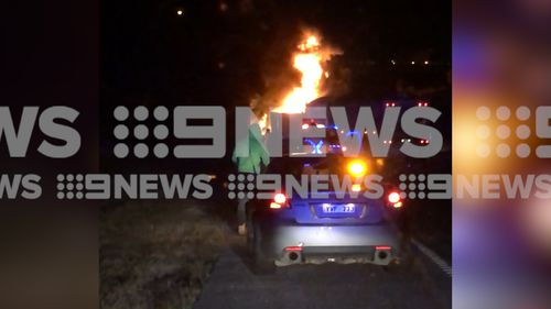 The truck burst into flames on the M1 Pacific Motorway at Morisset this morning.
