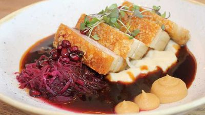 "Recipe: <a href=""http://kitchen.nine.com.au/2016/07/27/15/50/roast-pork-belly-with-pickled-cabbage-pork-jus-and-vanilla-apple-sauce"" target=""_top"">Roast pork belly with pickled cabbage, pork jus and vanilla apple sauce</a>"