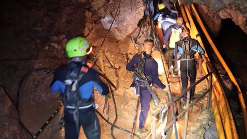 It's hoped the first boy will be rescued from the cave around midnight Sunday (AEST). (Thai Navy SEAL)