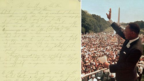 This undated photo (left) released by Sotheby's auction house in New York shows an original three-page handwritten outline for Martin Luther King Jr's first speech condemning the Vietnam War. (AAP)
