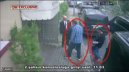 The Turkish source said the man in the blue checked shirt is the same man later seen in Khashoggi's clothes.