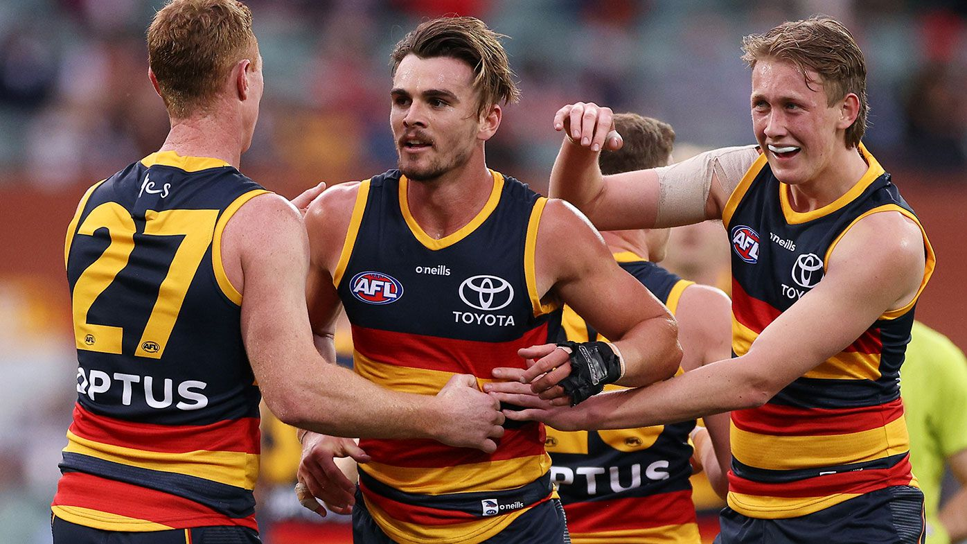 Ben Keays of the Crows celebrates after kicking a goal