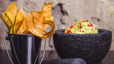 "Recipe: <a href=""http://kitchen.nine.com.au/2017/09/15/15/14/mejicos-pea-and-wasabi-smashed-guacamole"" target=""_top"">Mejico's pea and wasabi smashed guacamole</a> - click through for more of our favourite dip recipes"