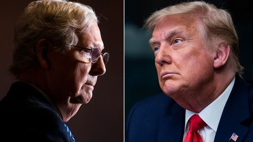 """Mitch McConnell (left) says the Capitol Hill mob was """"provoked"""" by Donald Trump (right)."""