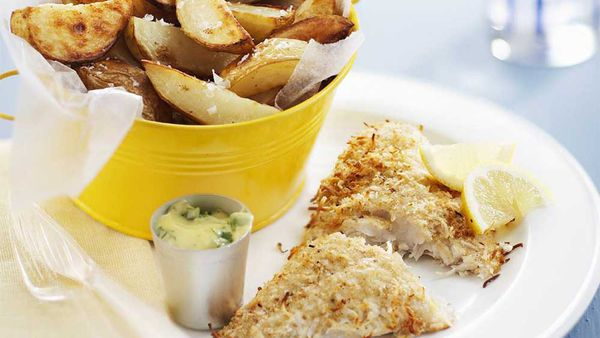 Coconut fish and chips with lemon coriander mayo