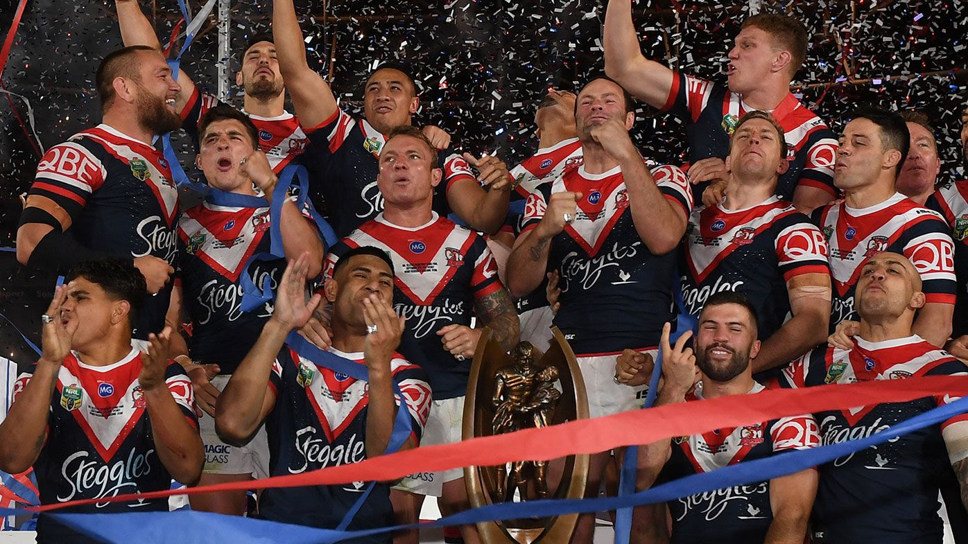 The Sydney Roosters celebrate their 2018 premiership at ANZ Stadium.