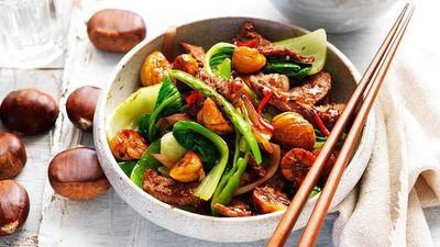 "Recipe: <a href=""http://kitchen.nine.com.au/2017/05/01/10/13/chestnut-beef-and-bok-choy-stir-fry"" target=""_top"" draggable=""false"">Chestnut, beef and bok choy stir-fry</a>"