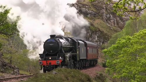 The steam train, called the Jacobite, runs regular excursions through the Scottish countryside.